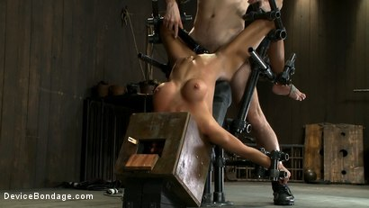 Photo number 5 from Hot skinny MILF with big tits, is bound in a custom metal device. <br>Brutally fucked, and zippered. shot for Device Bondage on Kink.com. Featuring Gia DiMarco and Maestro in hardcore BDSM & Fetish porn.