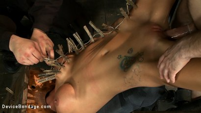 Photo number 6 from Hot skinny MILF with big tits, is bound in a custom metal device. <br>Brutally fucked, and zippered. shot for Device Bondage on Kink.com. Featuring Gia DiMarco and Maestro in hardcore BDSM & Fetish porn.