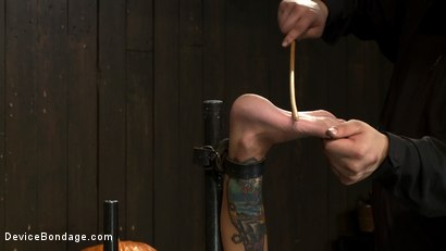 Photo number 11 from Milf made to squirt over & over.<br>Fucked, caned, nipple torment, foot torture & a facial, fun day shot for Device Bondage on Kink.com. Featuring Gia DiMarco and Maestro in hardcore BDSM & Fetish porn.
