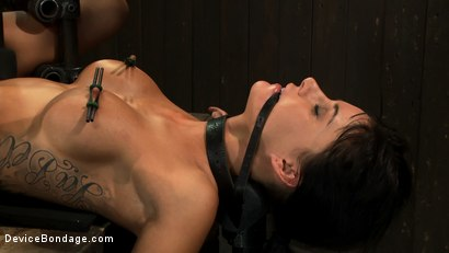 Photo number 6 from Milf made to squirt over & over.<br>Fucked, caned, nipple torment, foot torture & a facial, fun day shot for Device Bondage on Kink.com. Featuring Gia DiMarco and Maestro in hardcore BDSM & Fetish porn.