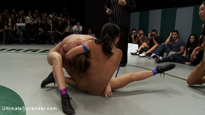 Photo number 7 from Brutal non-scripted Tag Team Action<br>2 teams battle to see who are the toughest bitches on the mat shot for Ultimate Surrender on Kink.com. Featuring Wenona, Tia Ling, Ariel X, Princess Donna Dolore and Hollie Stevens in hardcore BDSM & Fetish porn.
