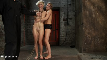 Photo number 15 from Cute blonde suffers the hardest hour on the internet<br>The Hogtied Live Show<br>Strict strappado shot for Hogtied on Kink.com. Featuring Chloe Camilla and Rain DeGrey in hardcore BDSM & Fetish porn.