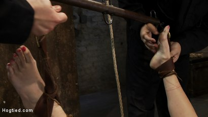 Photo number 1 from Super cute blond is tormented, cloths pins on her body are ripped off, made to cum over and over!! shot for Hogtied on Kink.com. Featuring Chloe Camilla and Rain DeGrey in hardcore BDSM & Fetish porn.
