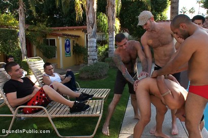 Photo number 1 from Bound and Humiliated at Helios Resort shot for Bound in Public on Kink.com. Featuring Cole Streets and Gianni Luca in hardcore BDSM & Fetish porn.