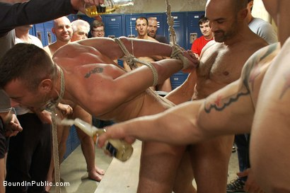 Photo number 8 from Ex-Military gets fucked in the crowded locker room shot for Bound in Public on Kink.com. Featuring Matthew Singer and Tristan Jaxx in hardcore BDSM & Fetish porn.