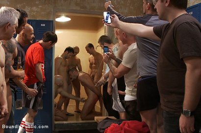 Photo number 10 from Ex-Military gets fucked in the crowded locker room shot for Bound in Public on Kink.com. Featuring Matthew Singer and Tristan Jaxx in hardcore BDSM & Fetish porn.