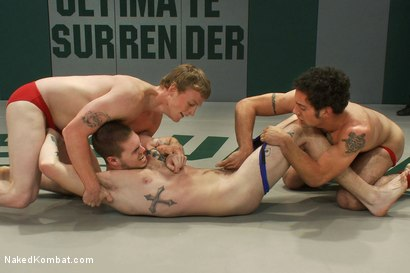 Photo number 3 from Hayden Russo & Jake Austin vs. DJ & Brandon Bangs <br> The Tag Team Match shot for Naked Kombat on Kink.com. Featuring Brandon Bangs, DJ, Jake Austin and Hayden Russo in hardcore BDSM & Fetish porn.