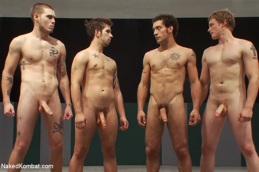 Men battle in nude naked