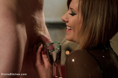 "Photo number 4 from Examining The Teachers Pet: Episode 5 ""Eat your cum for me bitch"" shot for Divine Bitches on Kink.com. Featuring Maitresse Madeline Marlowe  and Zak Tyler in hardcore BDSM & Fetish porn."