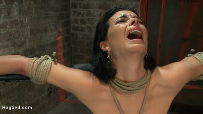 Photo number 6 from Sexy thin girl with huge boobs has massive orgasms<br>while neck rope slowly chokes her almost out. shot for Hogtied on Kink.com. Featuring Bailey Brooks in hardcore BDSM & Fetish porn.