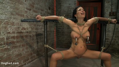 Photo number 15 from Sexy thin girl with huge boobs has massive orgasms<br>while neck rope slowly chokes her almost out. shot for Hogtied on Kink.com. Featuring Bailey Brooks in hardcore BDSM & Fetish porn.