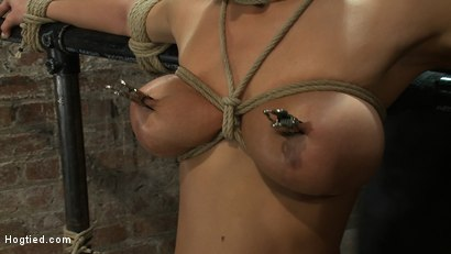 Photo number 3 from Sexy thin girl with huge boobs has massive orgasms<br>while neck rope slowly chokes her almost out. shot for Hogtied on Kink.com. Featuring Bailey Brooks in hardcore BDSM & Fetish porn.