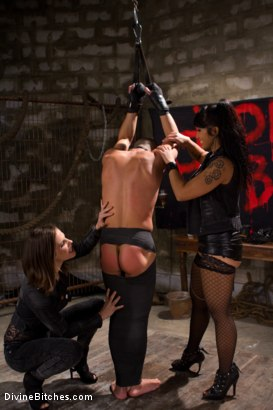 Photo number 14 from A Man With Three Balls Means One For Each Domme! shot for Divine Bitches on Kink.com. Featuring Bobbi Starr, DragonLily, Maitresse Madeline Marlowe and Chris Tyler in hardcore BDSM & Fetish porn.