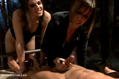 Photo number 8 from A Man With Three Balls Means One For Each Domme! shot for Divine Bitches on Kink.com. Featuring Bobbi Starr, DragonLily, Maitresse Madeline Marlowe  and Chris Tyler in hardcore BDSM & Fetish porn.