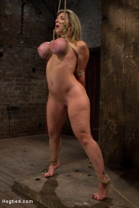 Photo number 7 from MILF with HUGE EE tits gets them severely bound<br>Pulled brutally to tippy toes!<br>Yea that hurts shot for Hogtied on Kink.com. Featuring Sara Jay and Isis Love in hardcore BDSM & Fetish porn.
