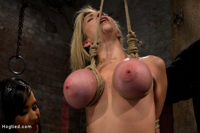 Photo number 11 from MILF with HUGE EE tits gets them severely bound<br>Pulled brutally to tippy toes!<br>Yea that hurts shot for Hogtied on Kink.com. Featuring Sara Jay and Isis Love in hardcore BDSM & Fetish porn.