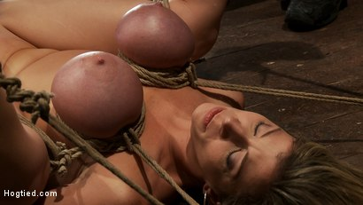 Photo number 4 from Hot blond MILF has her monstrous tits brutally bound to her ankles & knees<br>Squirts when she cums! shot for Hogtied on Kink.com. Featuring Sara Jay and Isis Love in hardcore BDSM & Fetish porn.