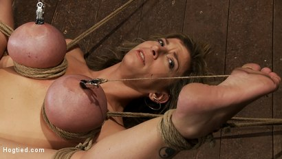 Photo number 6 from Hot blond MILF has her monstrous tits brutally bound to her ankles & knees<br>Squirts when she cums! shot for Hogtied on Kink.com. Featuring Sara Jay and Isis Love in hardcore BDSM & Fetish porn.