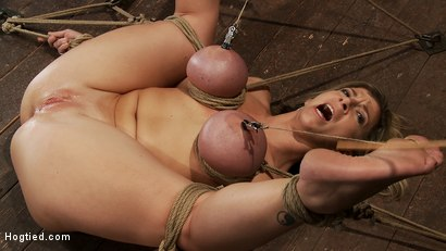 Photo number 9 from Hot blond MILF has her monstrous tits brutally bound to her ankles & knees<br>Squirts when she cums! shot for Hogtied on Kink.com. Featuring Sara Jay and Isis Love in hardcore BDSM & Fetish porn.