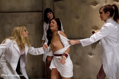 Photo number 2 from Jade Indica Brutally Violated by Three Fierce Fem Doms: Air-Tight Penetration with Strap-on's shot for Wired Pussy on Kink.com. Featuring Miss Jade Indica, Aiden Starr, Bobbi Starr and Princess Donna Dolore in hardcore BDSM & Fetish porn.