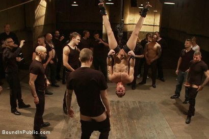 Photo number 12 from Trent Diesel <br> Bound and suspended upside down while brutally fucke shot for Bound in Public on Kink.com. Featuring Trent Diesel and Christian Wilde in hardcore BDSM & Fetish porn.