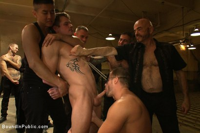 Photo number 9 from Trent Diesel <br> Bound and suspended upside down while brutally fucke shot for Bound in Public on Kink.com. Featuring Trent Diesel and Christian Wilde in hardcore BDSM & Fetish porn.