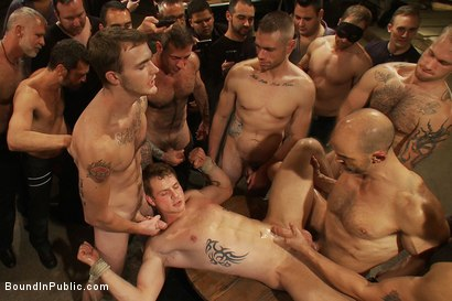 Photo number 13 from Trent Diesel <br> Bound and suspended upside down while brutally fucke shot for Bound in Public on Kink.com. Featuring Trent Diesel and Christian Wilde in hardcore BDSM & Fetish porn.