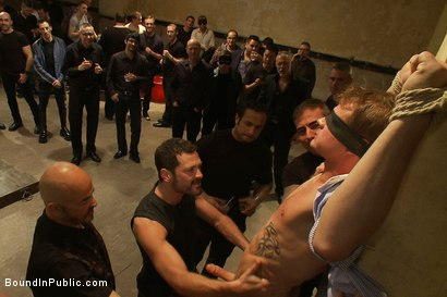 Photo number 2 from Trent Diesel <br> Bound and suspended upside down while brutally fucke shot for Bound in Public on Kink.com. Featuring Trent Diesel and Christian Wilde in hardcore BDSM & Fetish porn.