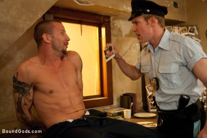 Photo number 1 from The policeman fucks with our creepy janitor. shot for Bound Gods on Kink.com. Featuring Brenn Wyson and Ned Mayhem in hardcore BDSM & Fetish porn.