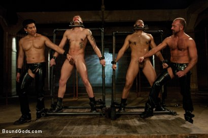 Photo number 1 from Trent Diesel, Leo Forte and a giant cock! <br> Live Shoot shot for Bound Gods on Kink.com. Featuring Leo Forte, Josh West, Trent Diesel and Van Darkholme in hardcore BDSM & Fetish porn.