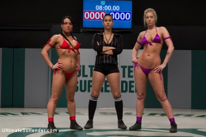 Photo number 2 from Blond Amazon destroy & humiliates Sexy Hawaiian on the mat<br>Finger fucking during the wrestling shot for Ultimate Surrender on Kink.com. Featuring Mahina Zaltana and Hollie Stevens in hardcore BDSM & Fetish porn.