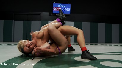 Photo number 5 from Blond Amazon destroy & humiliates Sexy Hawaiian on the mat<br>Finger fucking during the wrestling shot for Ultimate Surrender on Kink.com. Featuring Mahina Zaltana and Hollie Stevens in hardcore BDSM & Fetish porn.