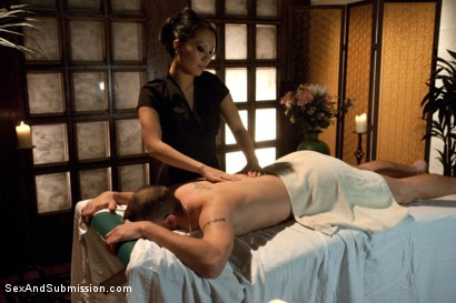 Photo number 1 from The Massage Parlor shot for Sex And Submission on Kink.com. Featuring Asa Akira and Mr. Pete in hardcore BDSM & Fetish porn.