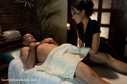 Photo number 2 from The Massage Parlor shot for Sex And Submission on Kink.com. Featuring Asa Akira and Mr. Pete in hardcore BDSM & Fetish porn.