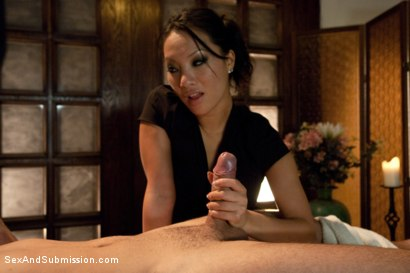 Photo number 3 from The Massage Parlor shot for Sex And Submission on Kink.com. Featuring Asa Akira and Mr. Pete in hardcore BDSM & Fetish porn.