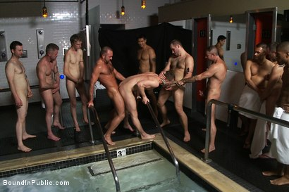 Photo number 8 from A slutty back-talker gets used and abused in front of a crowd at Steamworks bathhouse.  shot for Bound in Public on Kink.com. Featuring Josh West, Cameron Adams and Nick Moretti in hardcore BDSM & Fetish porn.
