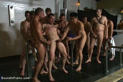 Photo number 9 from A slutty back-talker gets used and abused in front of a crowd at Steamworks bathhouse.  shot for Bound in Public on Kink.com. Featuring Josh West, Cameron Adams and Nick Moretti in hardcore BDSM & Fetish porn.