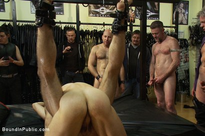 Photo number 11 from Ripped boy gets his hole shocked and filled at Mr. S Leather Store.  shot for Bound in Public on Kink.com. Featuring Josh West and DJ in hardcore BDSM & Fetish porn.