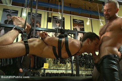 Photo number 5 from Ripped boy gets his hole shocked and filled at Mr. S Leather Store.  shot for Bound in Public on Kink.com. Featuring Josh West and DJ in hardcore BDSM & Fetish porn.