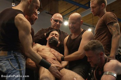 Photo number 1 from Ripped boy gets his hole shocked and filled at Mr. S Leather Store.  shot for Bound in Public on Kink.com. Featuring Josh West and DJ in hardcore BDSM & Fetish porn.