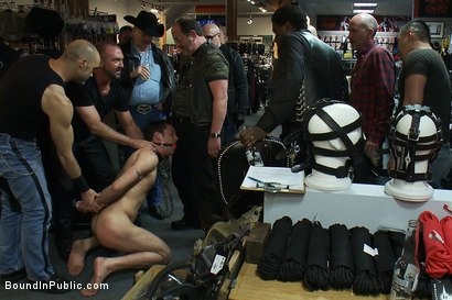 Photo number 7 from Ripped boy gets his hole shocked and filled at Mr. S Leather Store.  shot for Bound in Public on Kink.com. Featuring Josh West and DJ in hardcore BDSM & Fetish porn.
