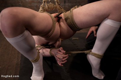 Photo number 13 from Sexy girl next door bound into a brutal back arch from hell.<br>Made to cum like a common slut. shot for Hogtied on Kink.com. Featuring Nicki Blue in hardcore BDSM & Fetish porn.