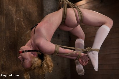 Photo number 9 from Sexy girl next door bound into a brutal back arch from hell.<br>Made to cum like a common slut. shot for Hogtied on Kink.com. Featuring Nicki Blue in hardcore BDSM & Fetish porn.