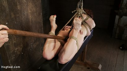 Photo number 6 from 19yr old redhead with massive DD natural tits is hogtied<br>Anal hooked, finger fucked & made to cum shot for Hogtied on Kink.com. Featuring Iona Grace in hardcore BDSM & Fetish porn.