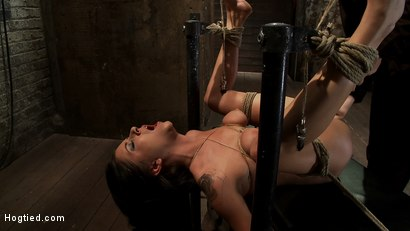 Photo number 7 from Bound on her back, nipples tied to her big toes. Finger fucked to orgasms, vibrated, caned & abused! shot for Hogtied on Kink.com. Featuring Tessa Taylor in hardcore BDSM & Fetish porn.