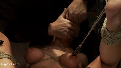Photo number 8 from Bound on her back, nipples tied to her big toes. Finger fucked to orgasms, vibrated, caned & abused! shot for Hogtied on Kink.com. Featuring Tessa Taylor in hardcore BDSM & Fetish porn.