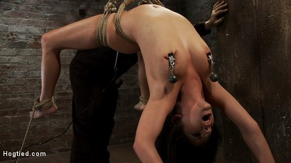 Sexy girl next door is bound & suspended, stretched to the limits of the human body So helpless!