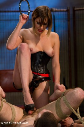 Photo number 14 from New Slaveboy Tryouts LIVE with Maitresse Madeline shot for Divine Bitches on Kink.com. Featuring Maitresse Madeline Marlowe , Jack Thunda, Jesse Carl and Jessie Sparkles in hardcore BDSM & Fetish porn.