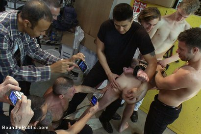 Photo number 3 from Straight stud's butthole gets violated by the Gay Mafia in the paint shop. shot for Bound in Public on Kink.com. Featuring Nick Moretti, Tristan Jaxx and Hayden Russo in hardcore BDSM & Fetish porn.