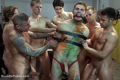Photo number 11 from Straight stud's butthole gets violated by the Gay Mafia in the paint shop. shot for Bound in Public on Kink.com. Featuring Nick Moretti, Tristan Jaxx and Hayden Russo in hardcore BDSM & Fetish porn.